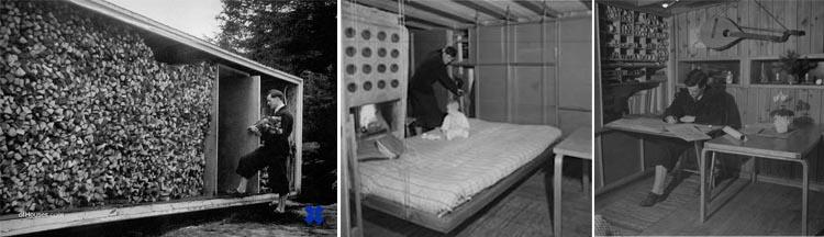 The Box: vista de la pared norte-leñera, de la sala con la cama descolgada y del arquitecto trabajando.