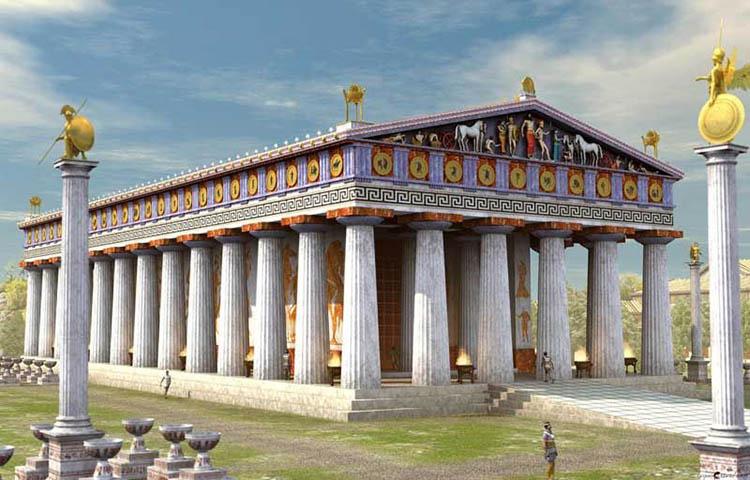 Representación de un templo griego en todo su esplendor.