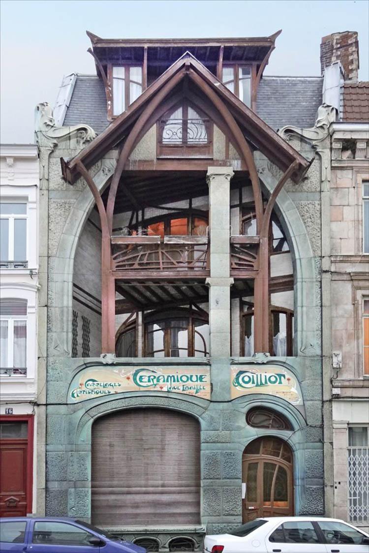 Maison Coilliot, Hector Guimard, 1900: total confusión entre el trabajo en acero y trabajo en madera hasta hacerlos indistinguibles.