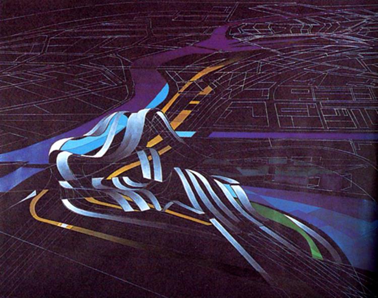 Figura 1. Gran Mezquita de Estrasburgo, uno de los proyectos donde mejor se pudo expresar la arquitectura caligráfica de Zaha Hadid.