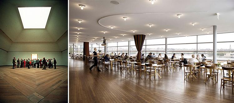Figuras 4-5. Dos salas de parqué en el Museo de Arte Moderno de Estocolmo de Rafael Moneo mostrando sus usos isótropo y anisótropo.