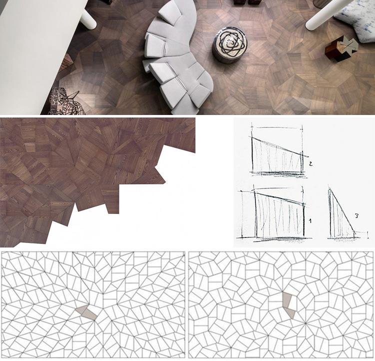 Figuras 6-9. Parqué de madera de Zaha Hadid colocado, despiezado y en sus diversas disposiciones.