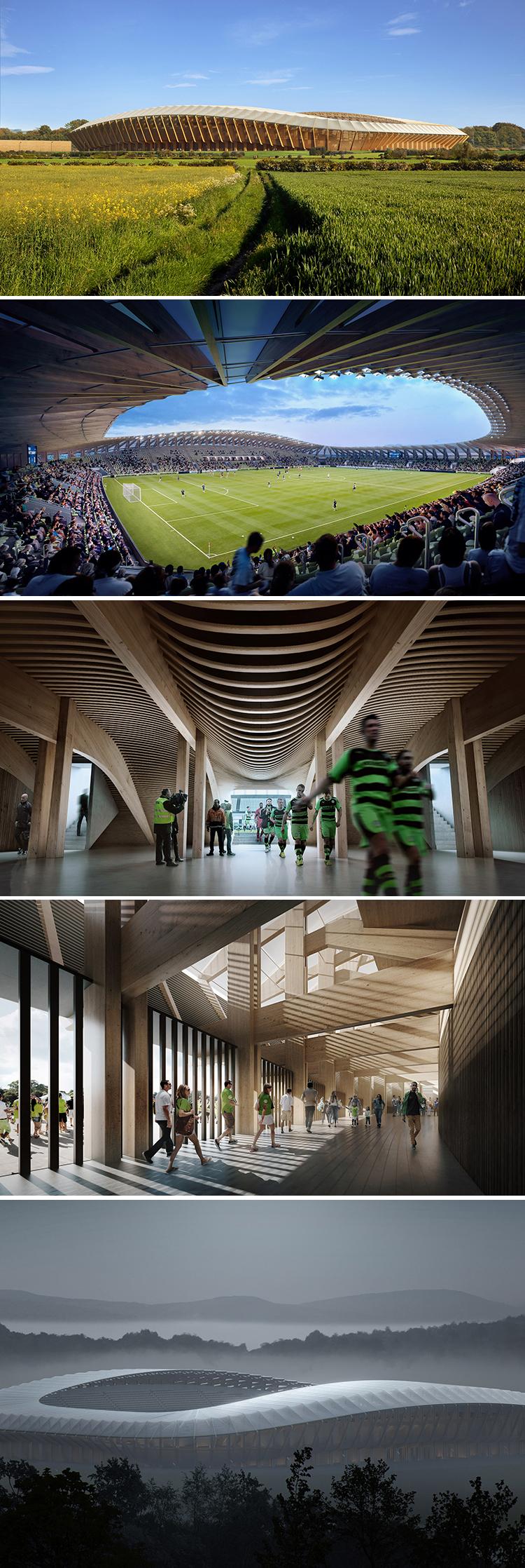 Figuras 10-14. Zaha Hadid architects, estadio de madera para los Forest Green Rovers.